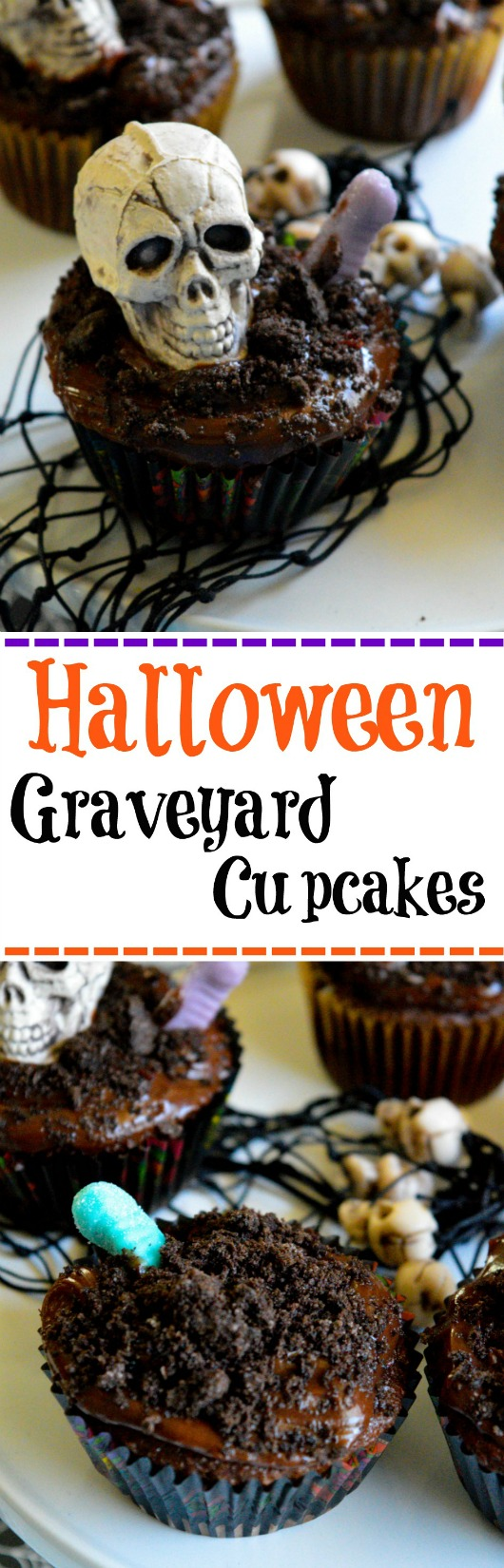 Halloween Graveyard Cupcakes. A graveyard twist on the dirt cupcake - Simple Sojourns