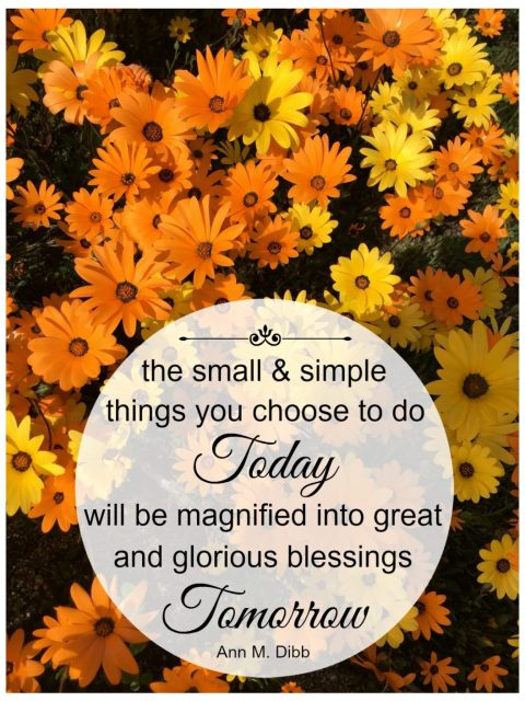The Small and Simple Things you Choose to do Today will be Magnified into Great and Glorious Blessings Tomorrow - Simple Sojourns