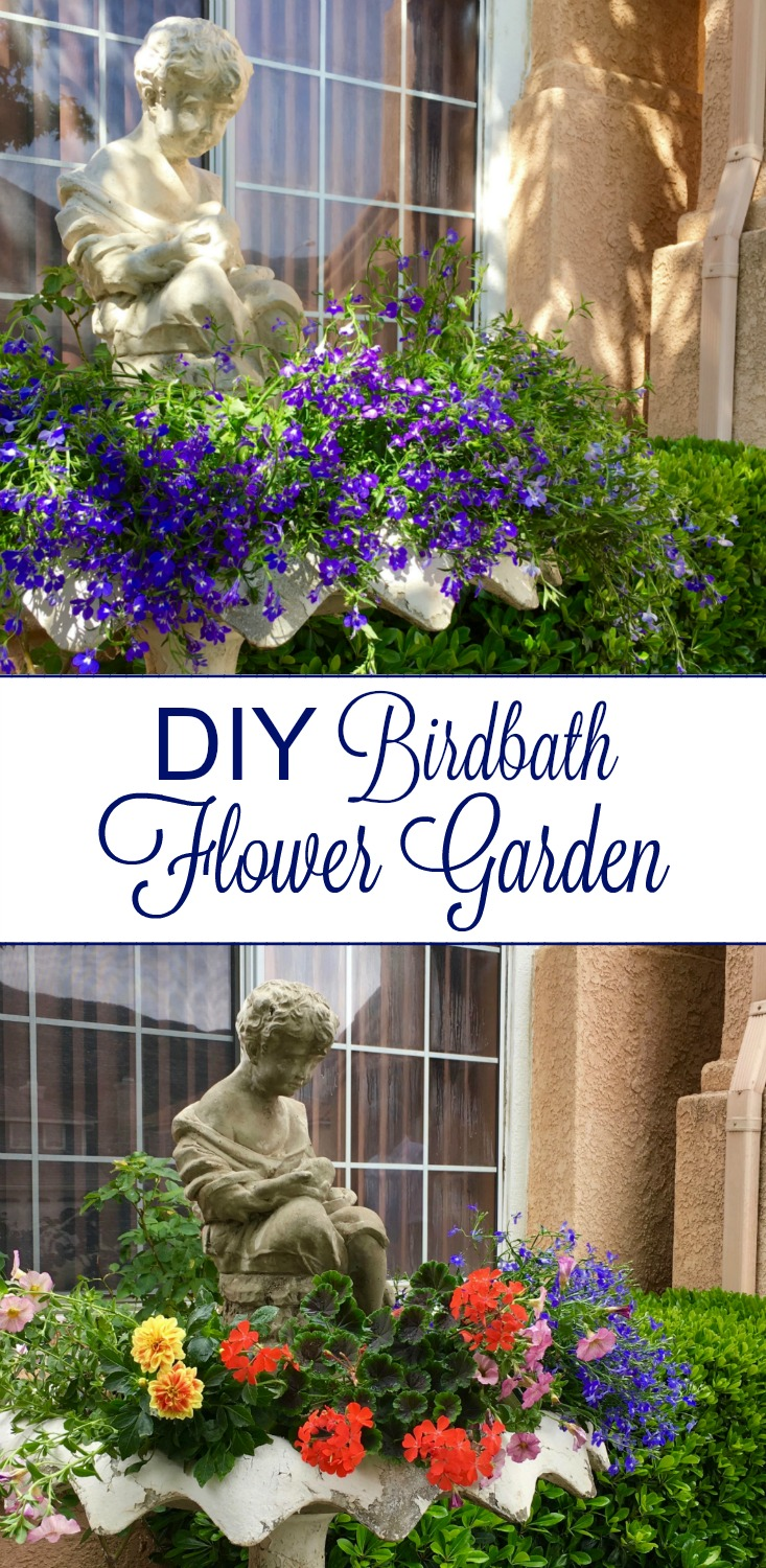 Diy birdbath flower garden simple sojourns for Simple flower garden