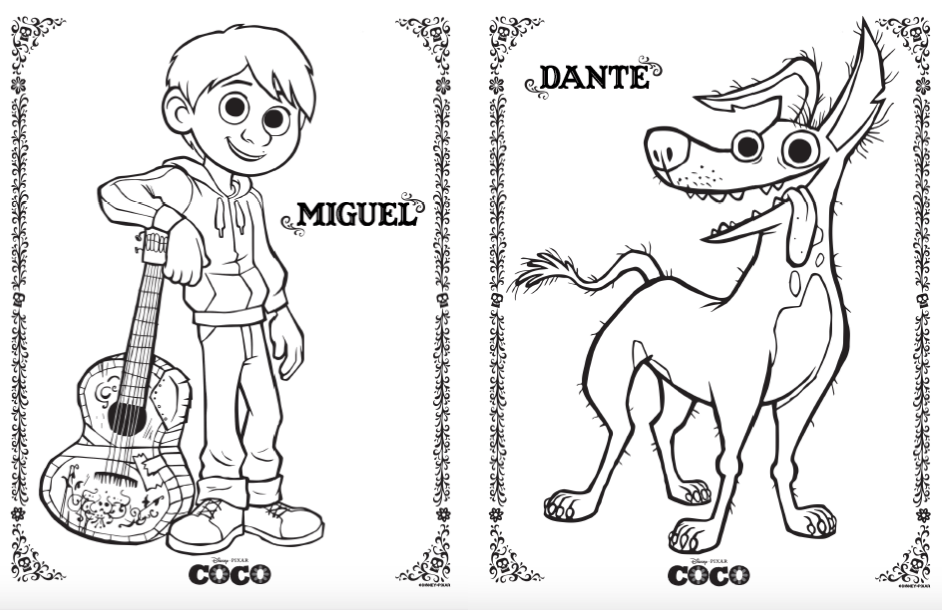 disney pixars coco coloring activity pages