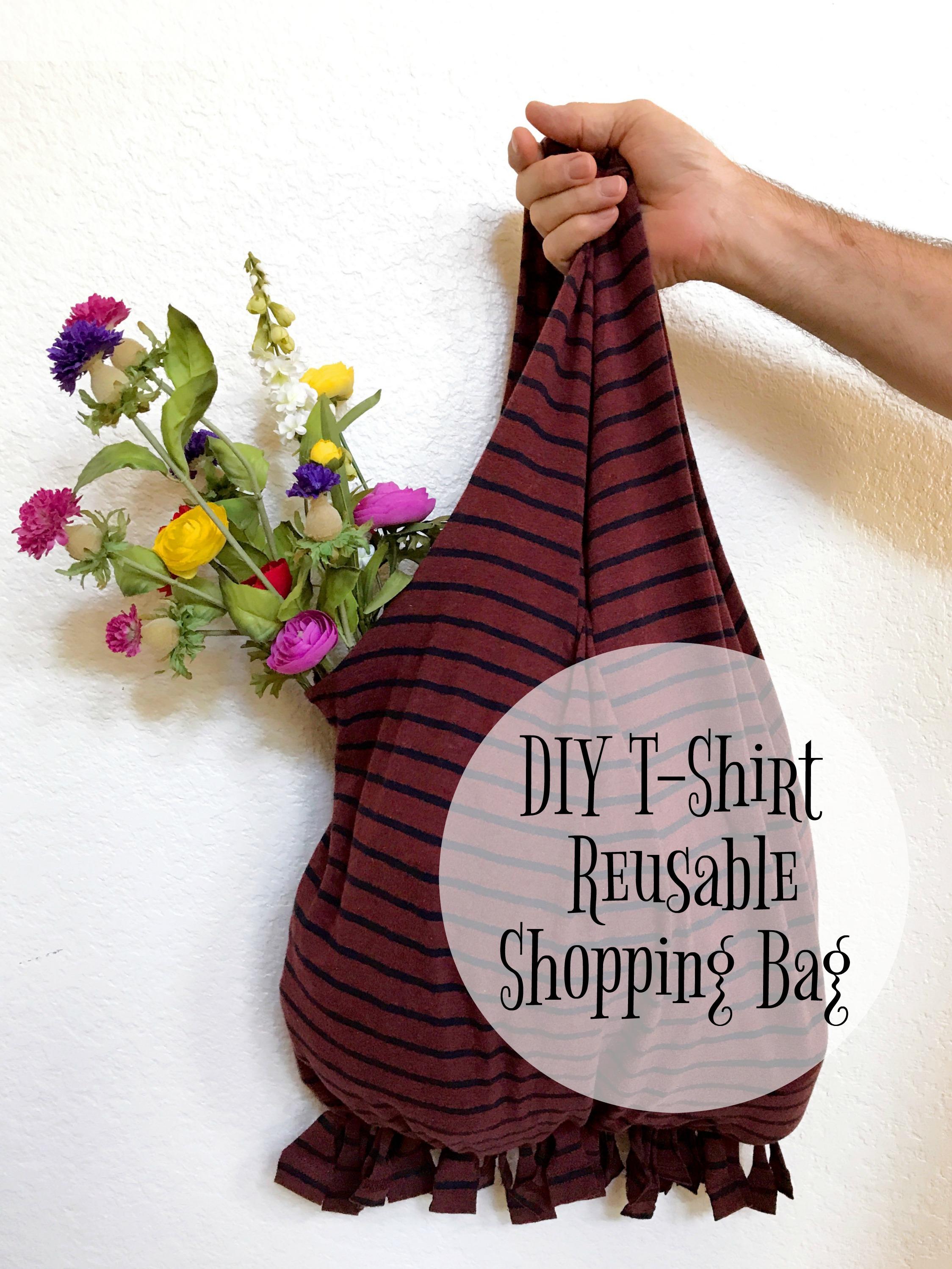 DIY T-Shirt Reusable Shopping Bag #DIY #ReusableShoppingBag #LivingGreen - Simple Sojourns