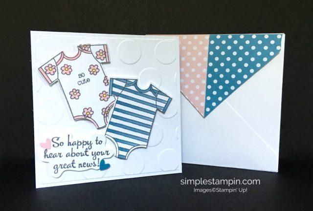 Stampin' Up! Baby Card, Large Polka Dot Embossing Folder,Happy Happenings Stamp Set, Aqua Painters, Susan Itell - stampinup