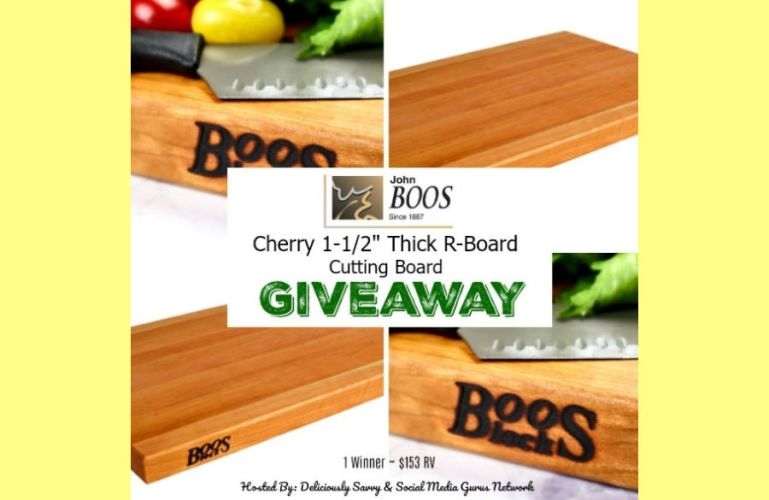 """John Boos & Co. Cherry 1-½"""" Thick R-Board Cutting Board Giveaway ends 5/14"""