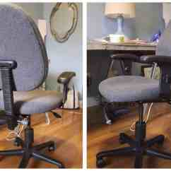 Reupholster Office Chair Back Silver Covers Diy Reupholstered Simple Stylings