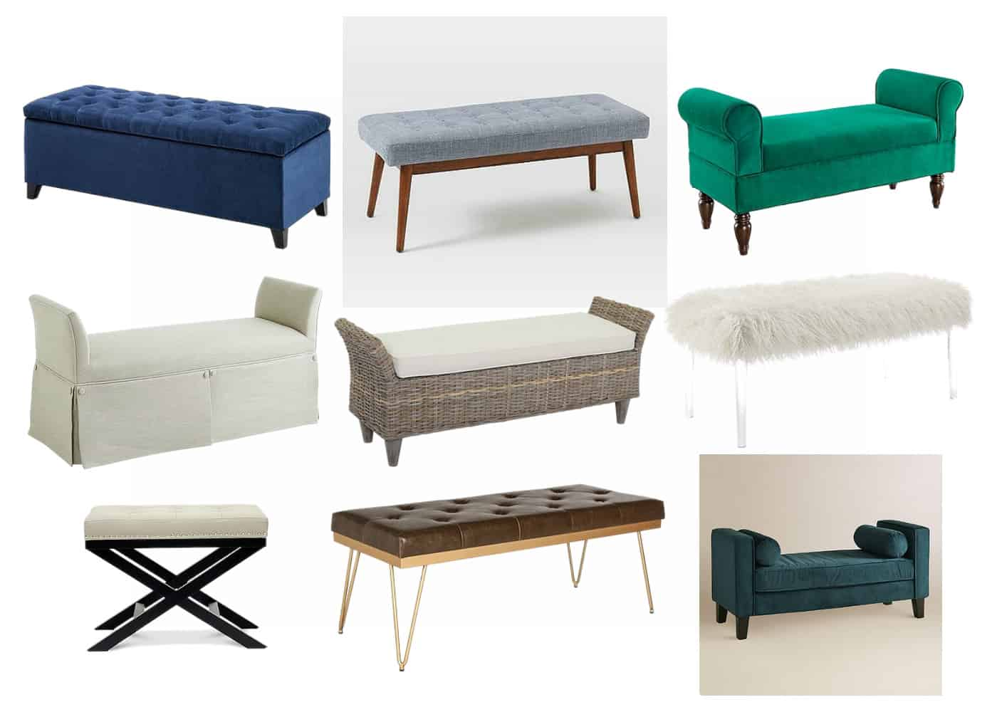 how to choose the best bedroom bench - simple stylings