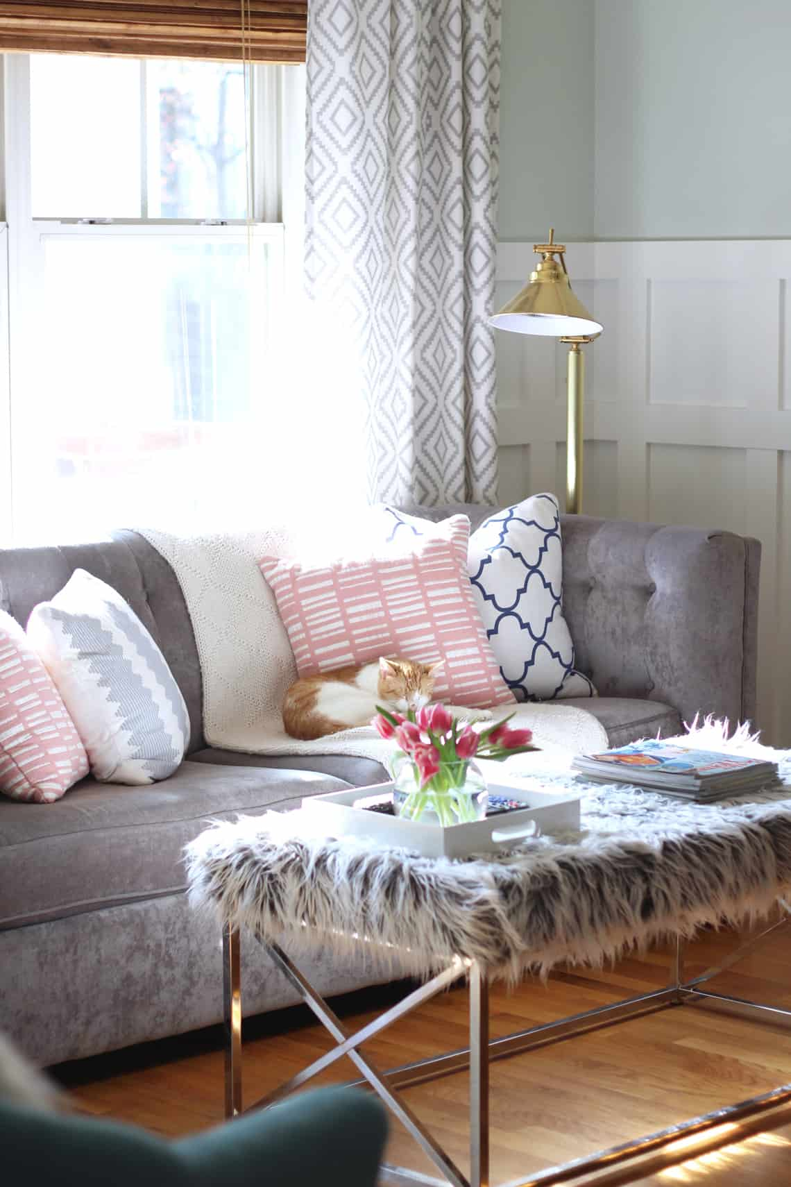 2016 Spring Home Tour Faux Fur Coffee Table