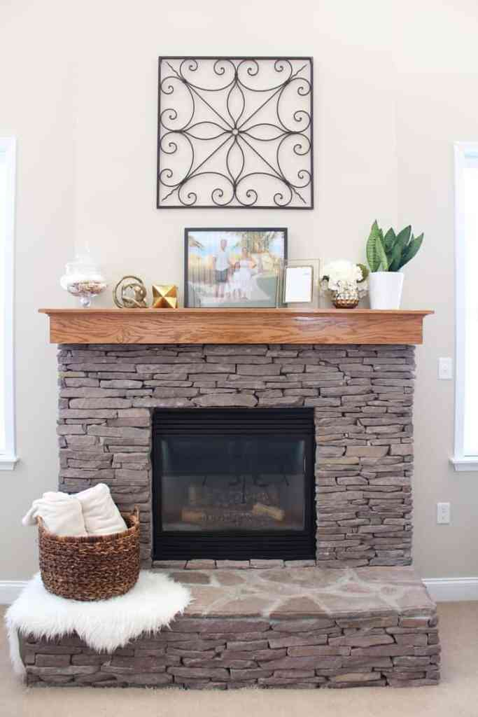 To Paint Or Not To Paint? Stone Tile Fireplace + More mantel