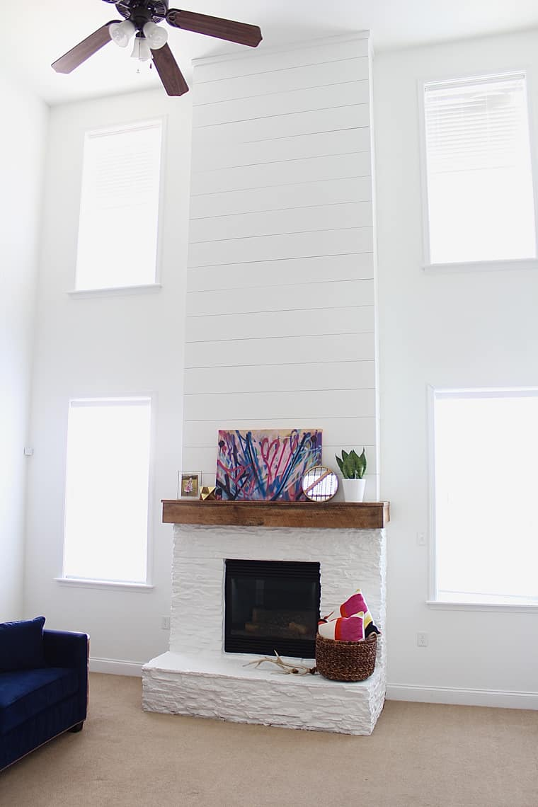 Modern, Rustic Mantel Makeover Cathedral Ceiling