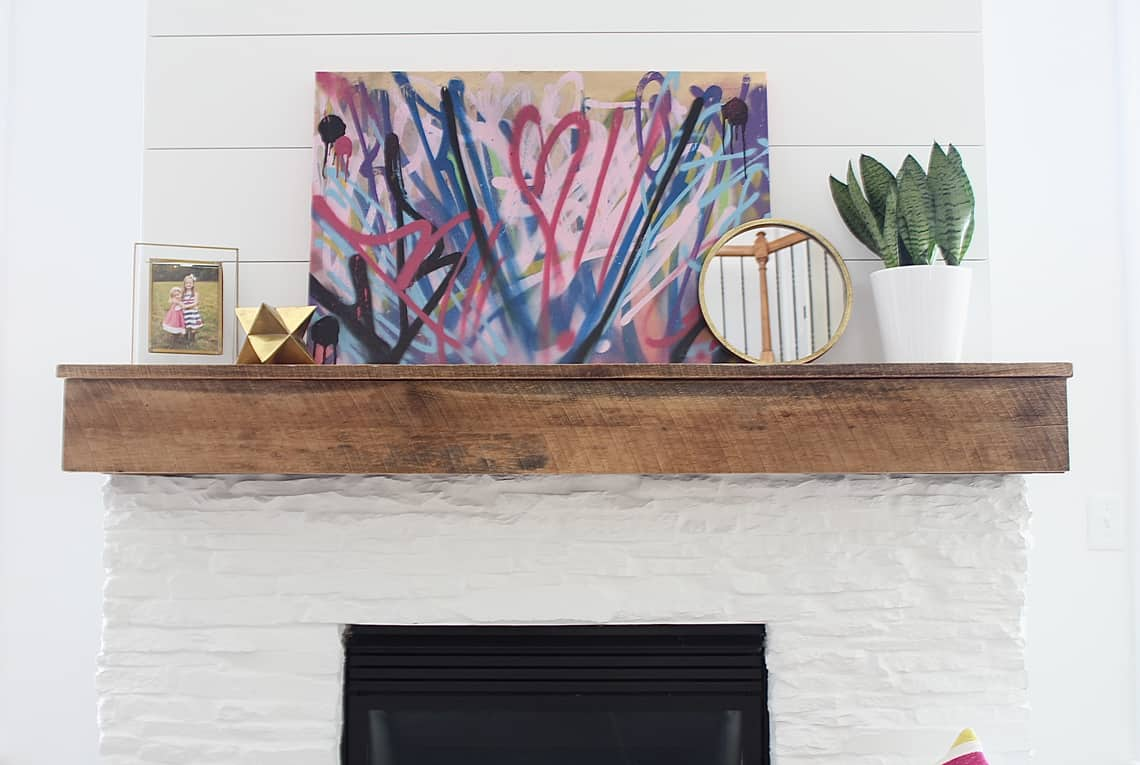 Modern, Rustic Mantel Makeover Abstract Art
