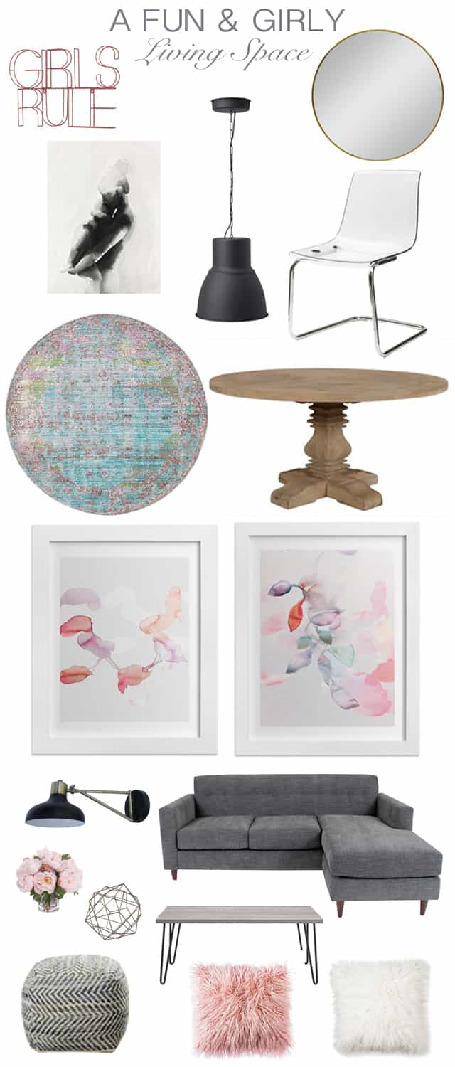 Get The Look: A Fun, Girly Living Space Mood Board