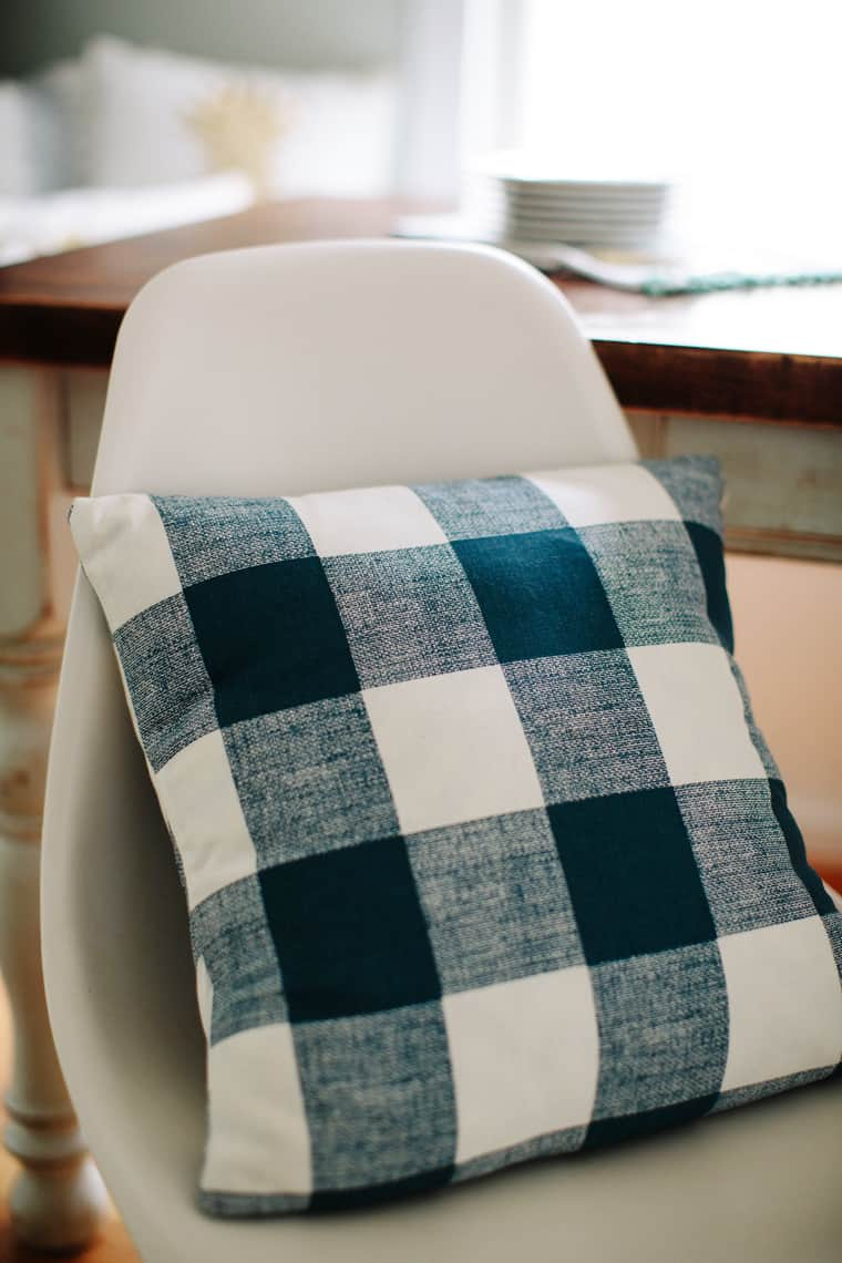 Dining Room Update with Stylish Rustic Plaid Cushions