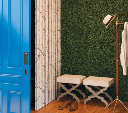 Interior Design Trend: Artificial Boxwood entryway