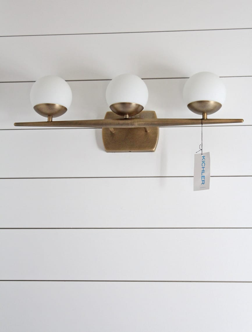 Our master bathroom renovation fixtures and finishes Bathroom light fixtures brass finish