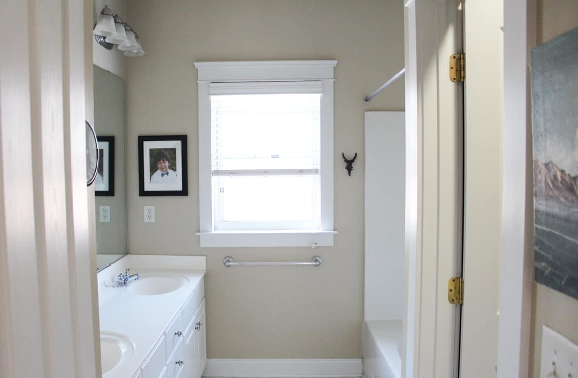 Our Master Bathroom Renovation Progress Report before wide
