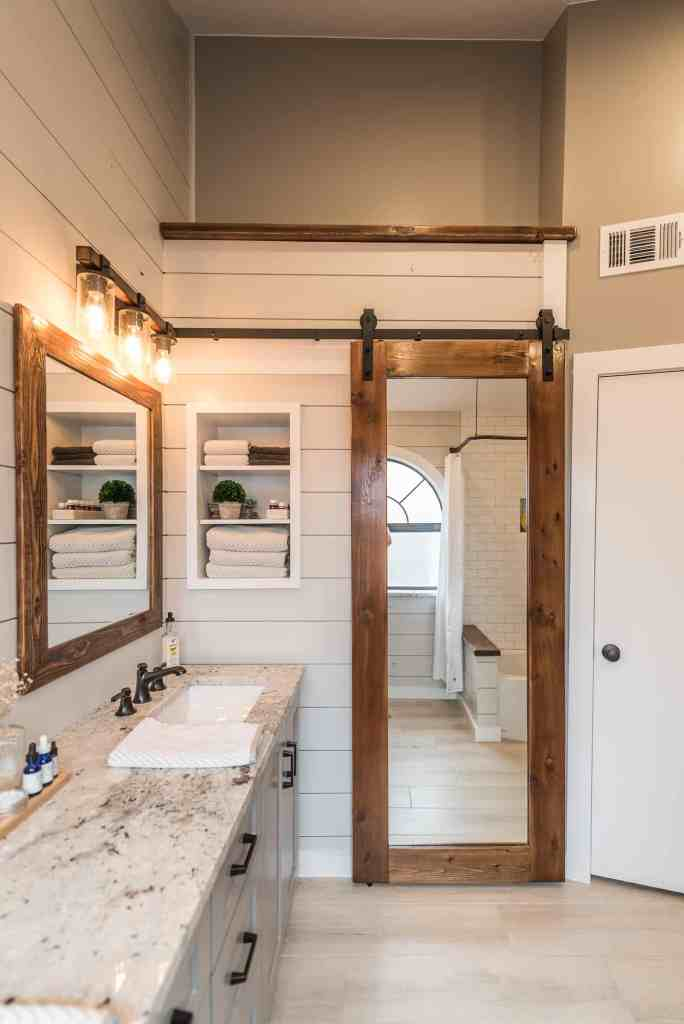 Do a little re decorating but sliding barn doors scream modern farmhouse and if you can find a way to put one in your home i would highly recommend it