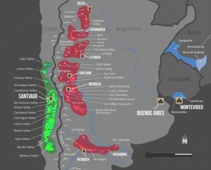 Mapa de regiões vinícolas (Winefolly)