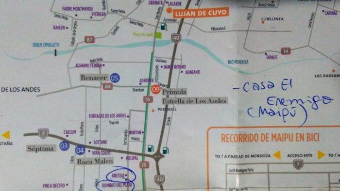 Mapa de Luján de Cuyo com dicas da Lucía