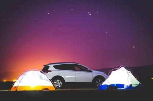 car camping sunset