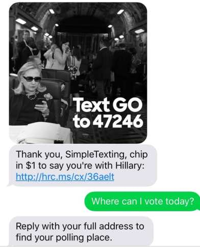 Hillary Clinton's campaign uses text messaging to help voters find polling places
