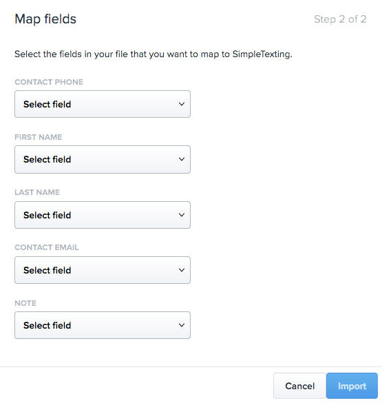 Screenshot of SimpleTexting platform with popup for matching the fields in your file to SimpleTexting's fields