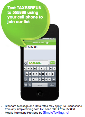 Image of cellphone with CTA for accountant or tax firm in speech bubble