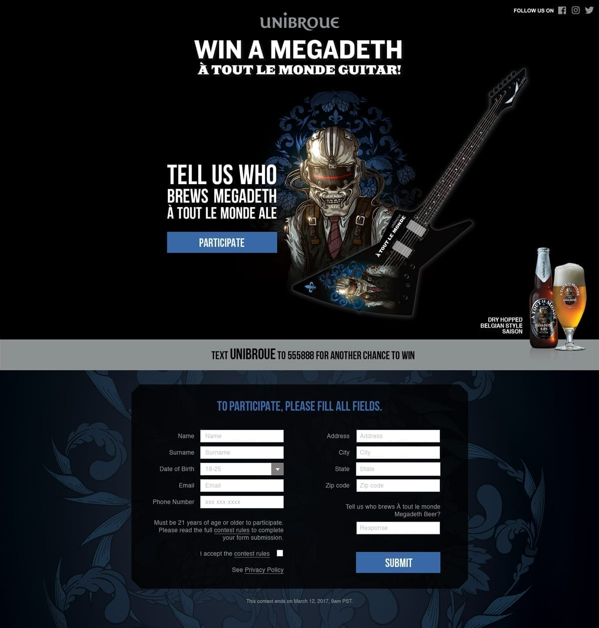 Landing page with images of Megadeth band mascot Vic Rattlehead, a bottle and glass of A Tout le Monde beer, and an electric guitar. The copy invites people to text or fill out a form to win the featured guitar.
