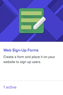 Web sign-up forms logo: a green pencil-and-paper icon on a blue background