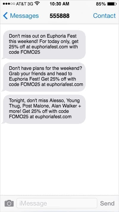 iPhone screenshot of 3 text messages from Euphoria Fest