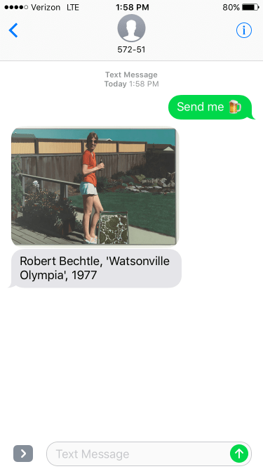 iPhone screenshot showing a 1977 Robert Bechtle artwork of a woman in a red shirt holding a bottled beer in the backyard