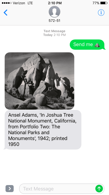 iPhone screenshot showing a 1942 Ansel Adams artwork of crags at Joshua Tree National Monument