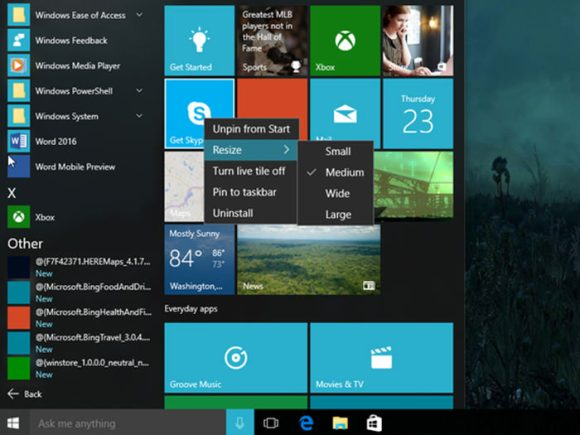 How to customize start menu in Windows 10