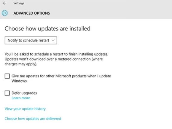 Scheduling restarts in Windows 10
