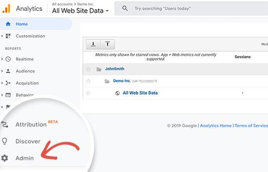 Passer à l'administrateur Google Analytics
