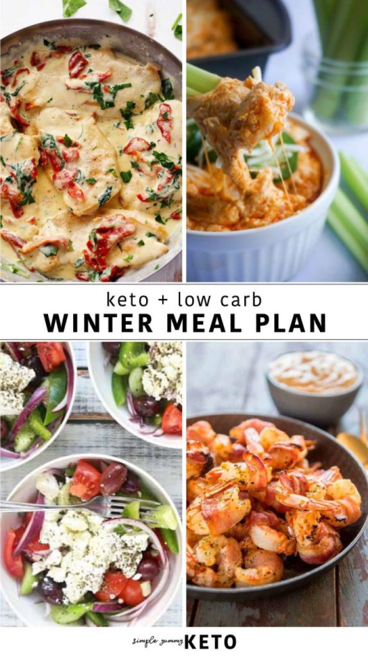 winter keto meal plan, weekly meal plan of what to eat on a low carb diet