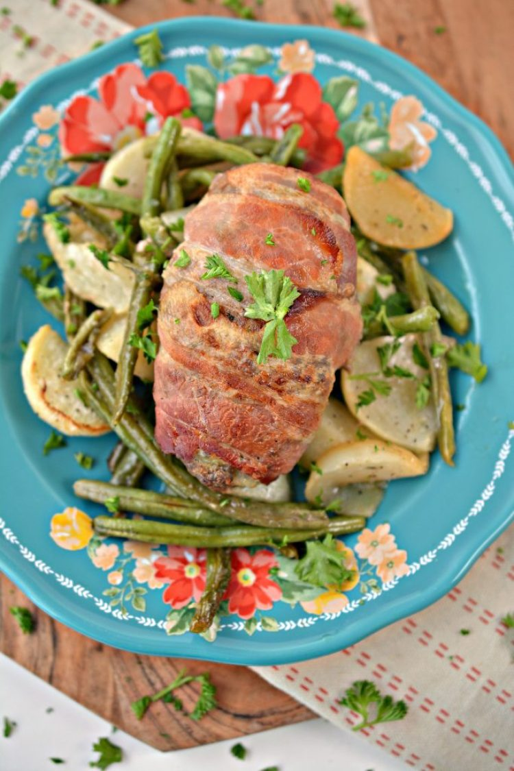 bacon wrapped mini meatloaf sheet pan dinner