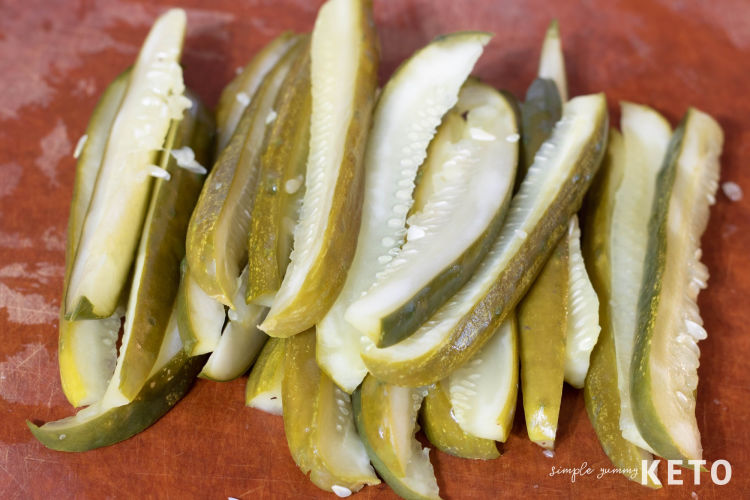 pickles ready to be dried with a paper towel