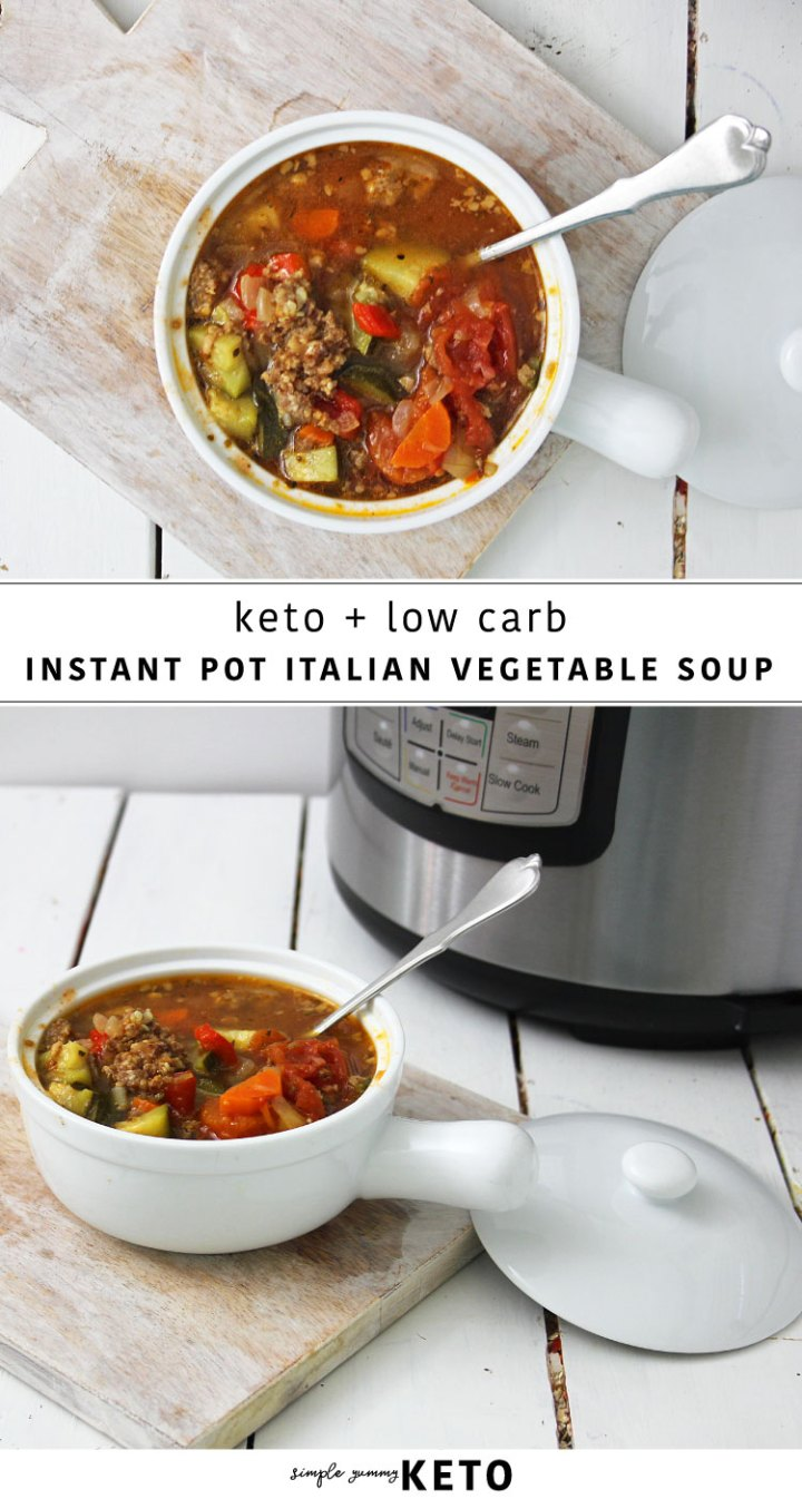 keto and low carb instant pot Italian vegetable soup recipe