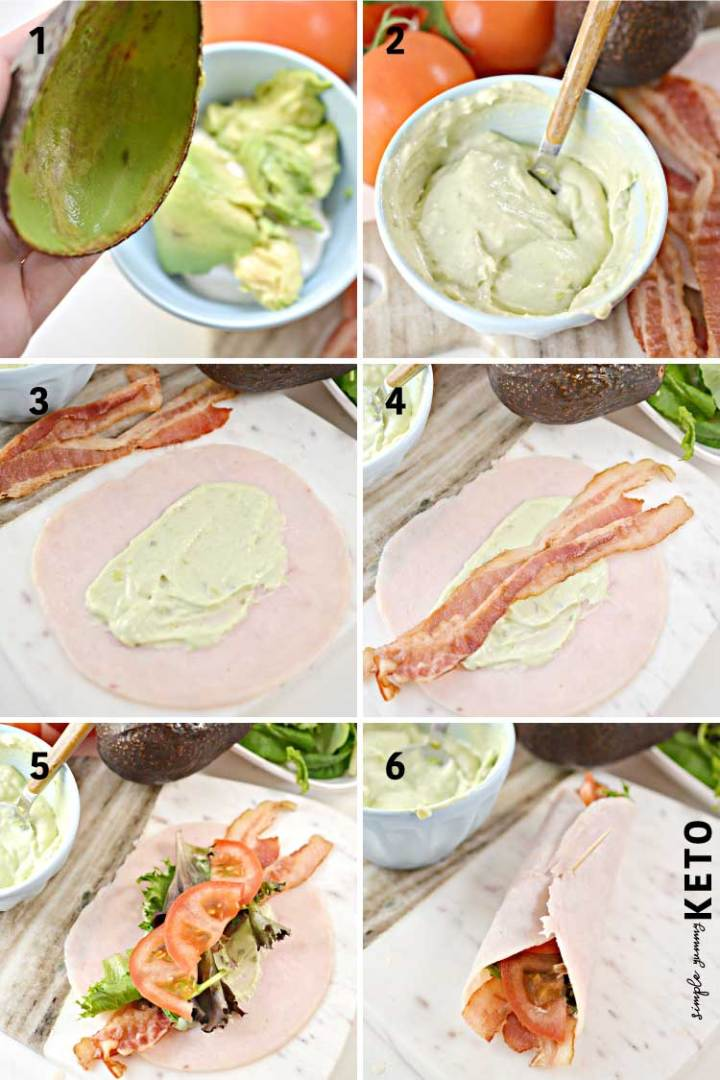 how to make keto blt turkey roll ups