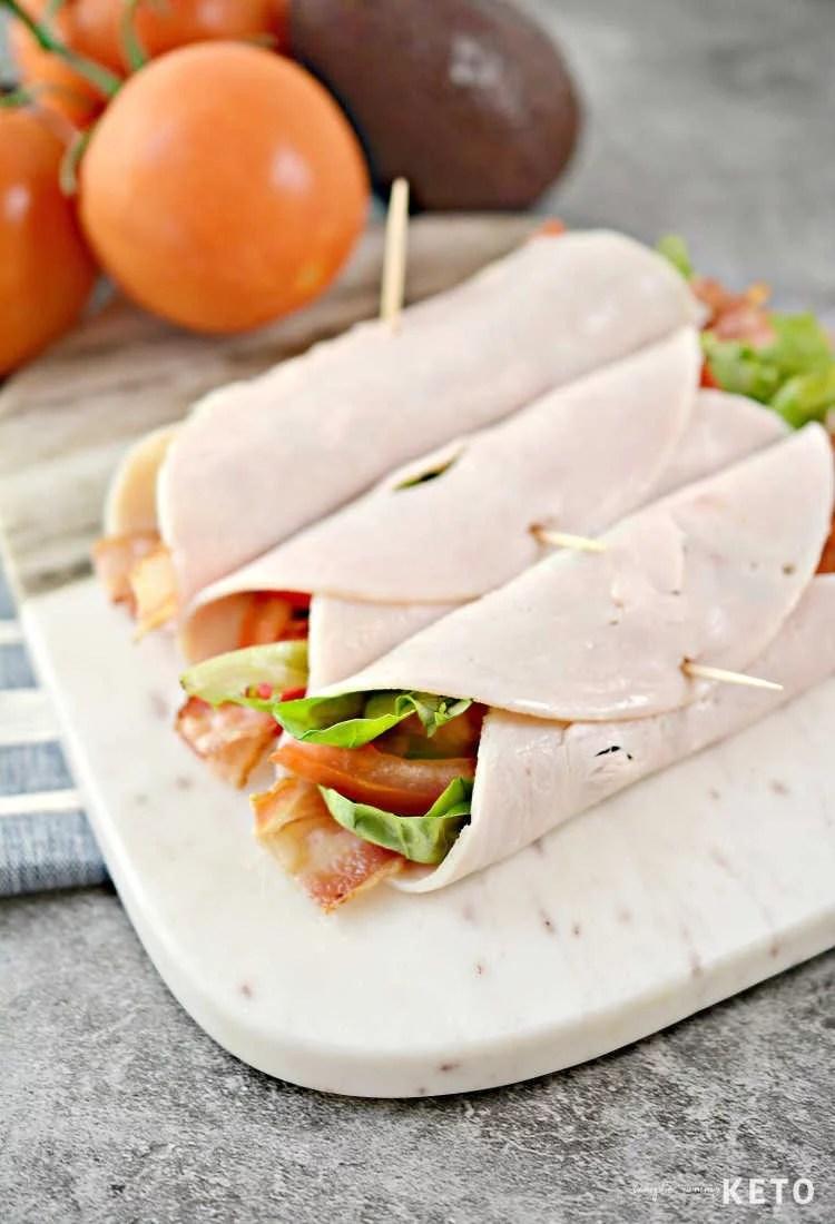 low carb keto blt turkey roll ups