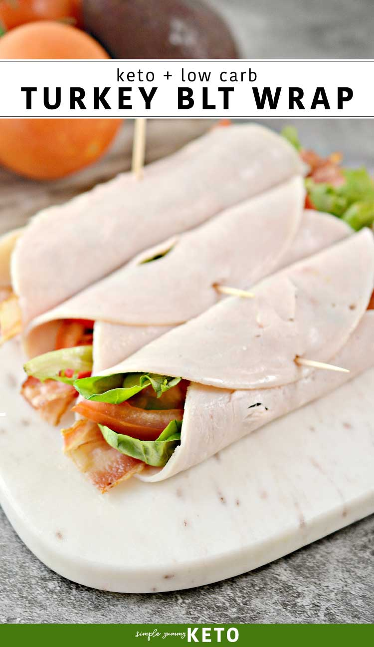 Low carb and keto turkey blt wrap. Easy Keto lunch recipe for on the go