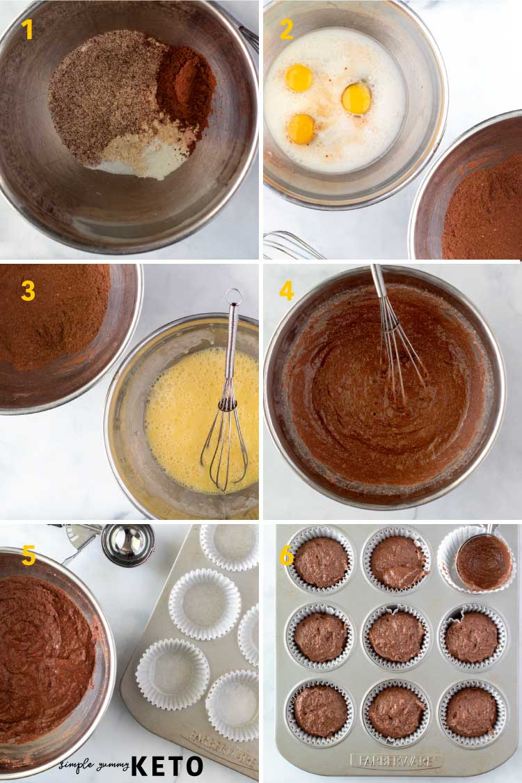 keto chocolate cupcakes process