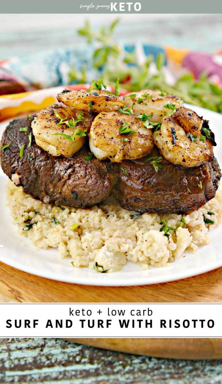 keto and low carb surf and turf with cauliflower risotto