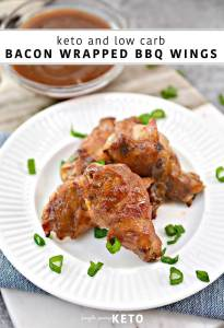 bacon wrapped bbq chicken wings - keto and low carb