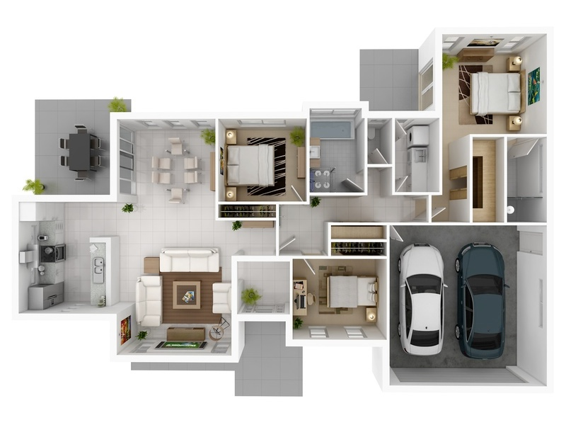 50 Three 3 Bedroom ApartmentHouse Plans  simplicity