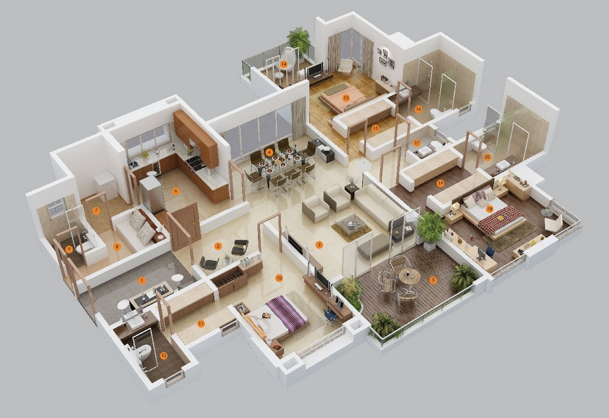 50 Three 3 Bedroom ApartmentHouse Plans  simplicity and abstraction