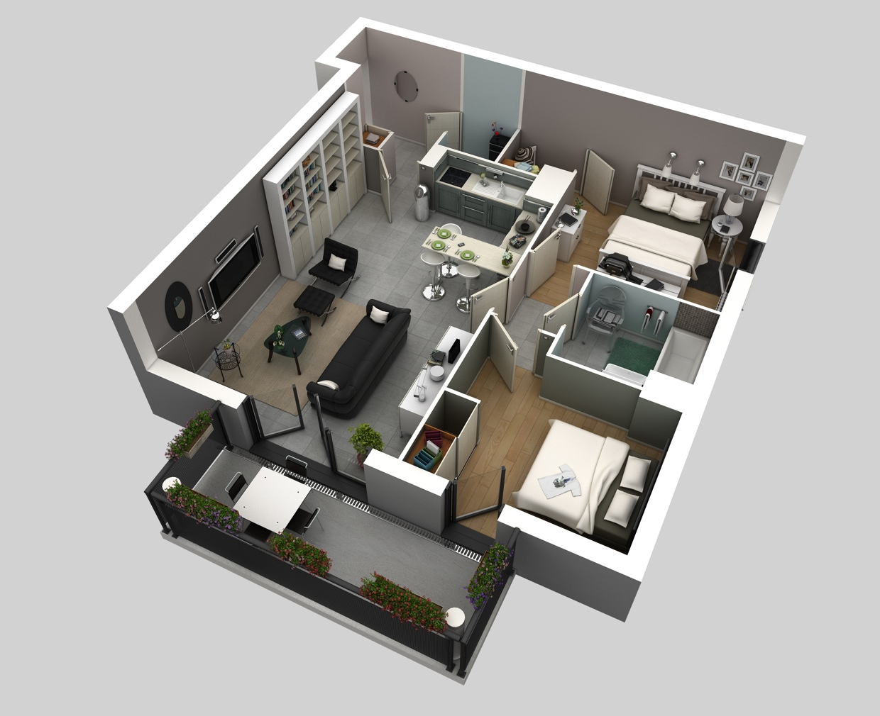 50 3D FLOOR PLANS LAYOUT DESIGNS FOR 2 BEDROOM HOUSE OR APARTMENT  simplicity and abstraction