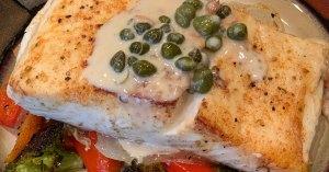 pan seared halibut with lemon caper cream sauce