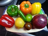 All the makings for salsa! Everything was from the farmers market....EXCEPT the lemons and limes...