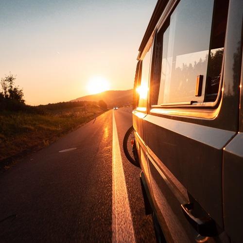 a van at sunset