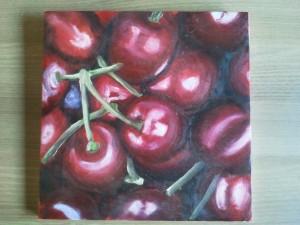 Bucket of Cherries - oil painting